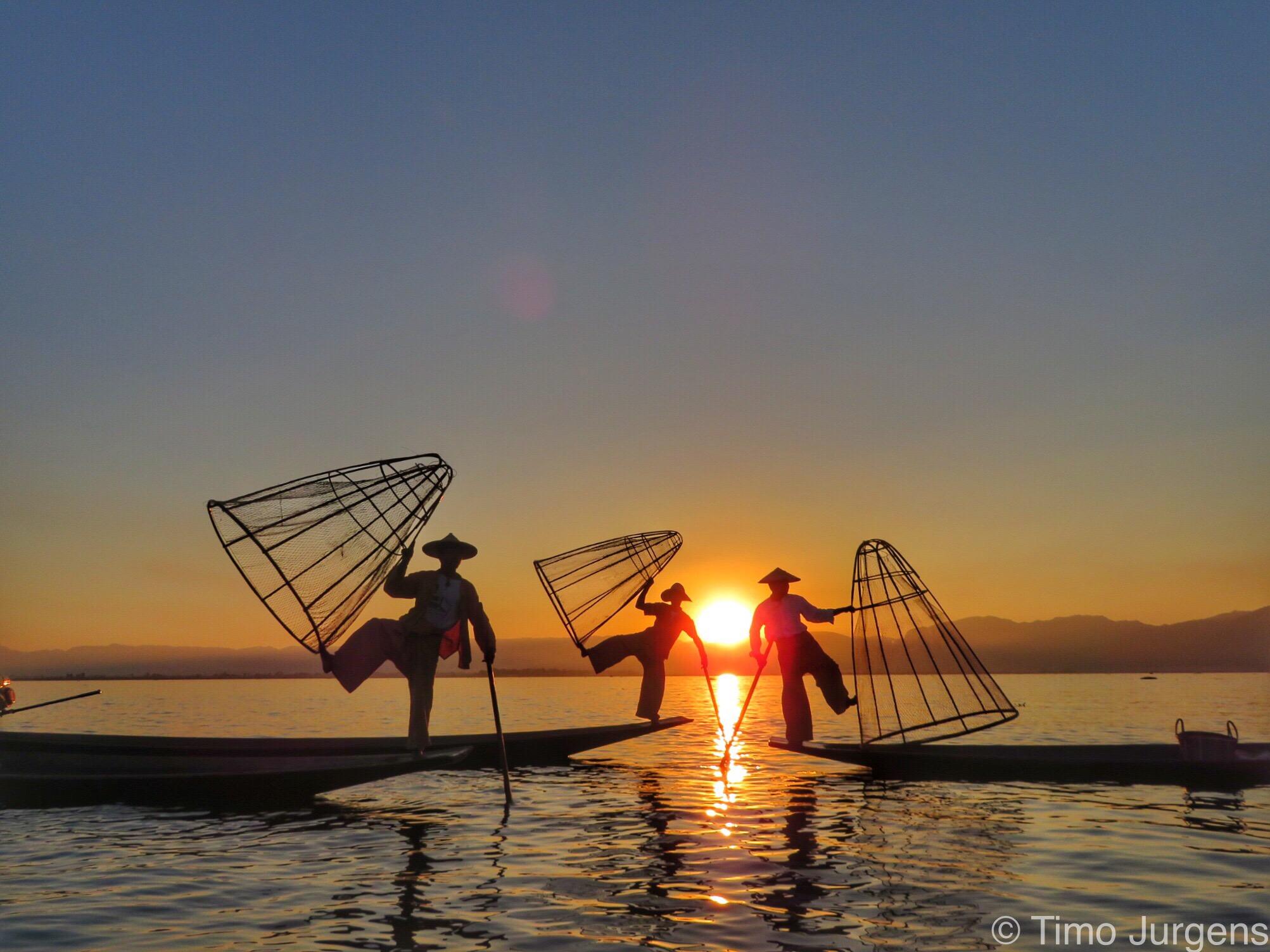 Fishermen at Inle Lake during Sunset Myanmar