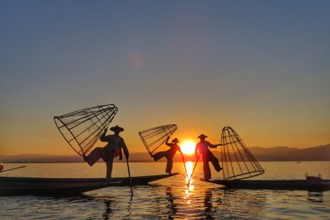Fishermen at Inle Lake during Sunset Myanmar