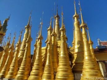 Golden Pagodas at Inthein Inle Lake Myanmar