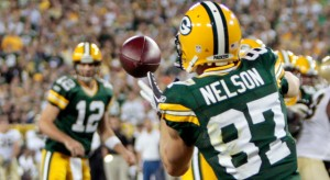 Green Bay Packers' Jordy Nelson (87) and Aaron Rodgers (12) - Photo by Mike Roemer/AP Photo
