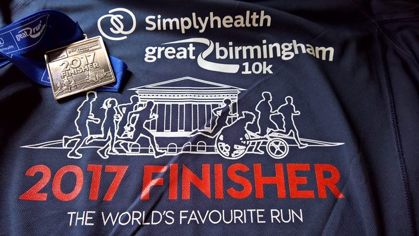 Simplyhealth Birmingham 10k T-shirt and Medal
