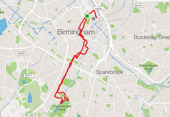 Birmingham 10k Route