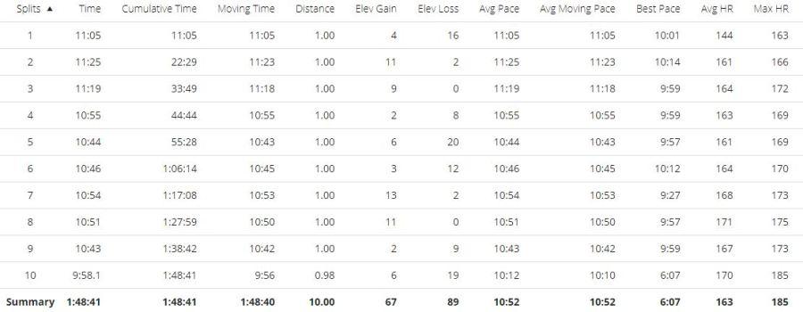 Sneyd 10 Mile Christmas Pudding Run Splits