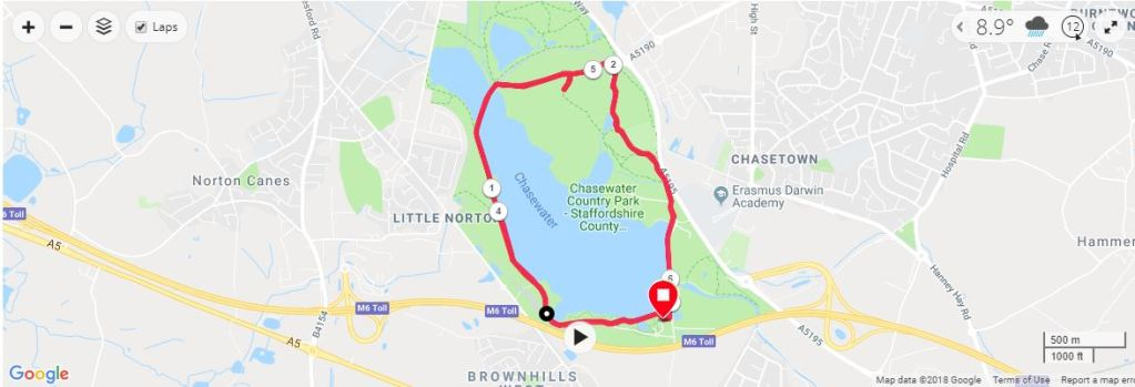 Chasewater 10k Pudding Dash Map