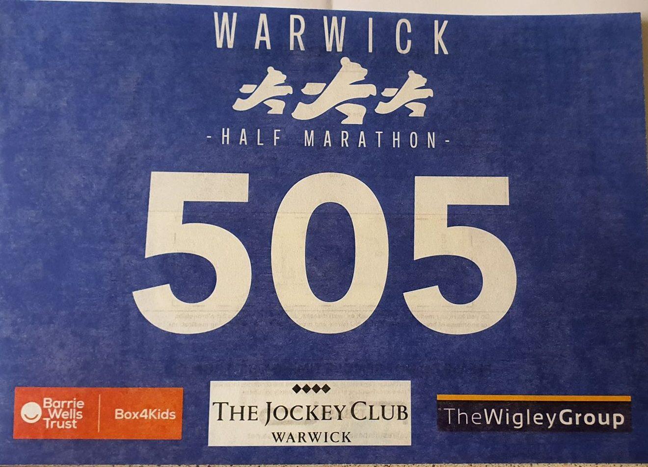 Warwick Half Marathon Race Number