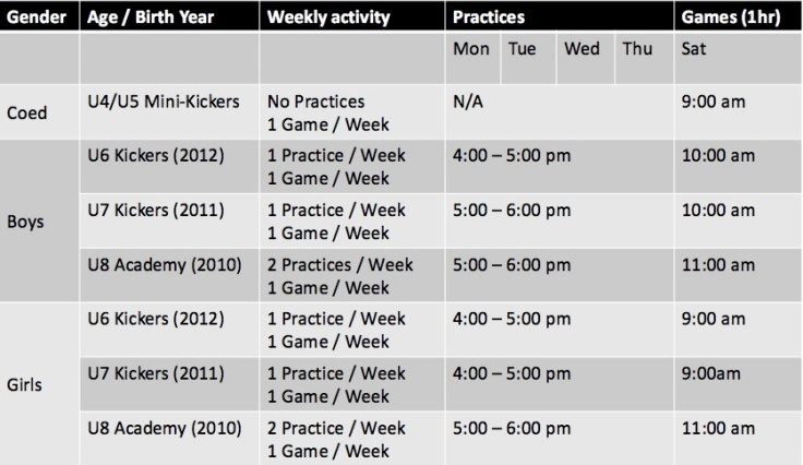Academy Sp Schedule