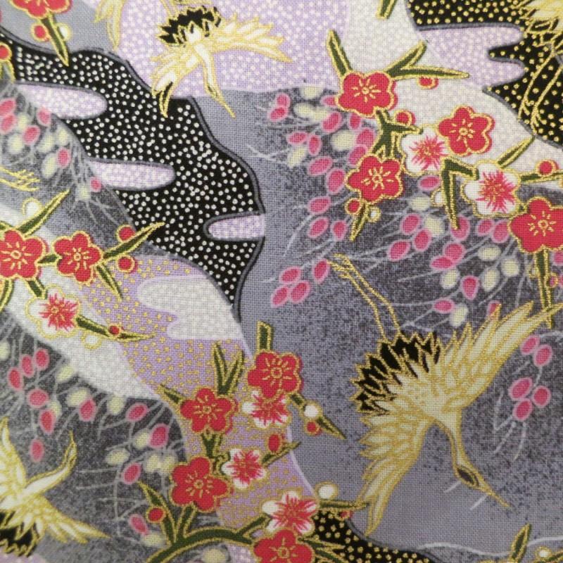 tissu japonais coton gris avec motifs de grues