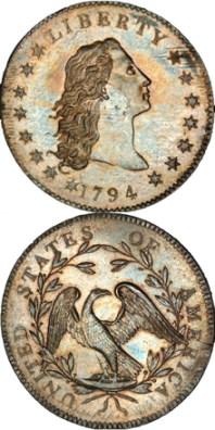 """le """"Flowing Hair dollar"""" (""""dollar aux cheveux flottants"""") est devenue en janvier 2013 la pièce de monnaie la plus chère du monde."""