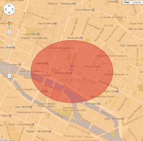 taille de l'impact sur Paris
