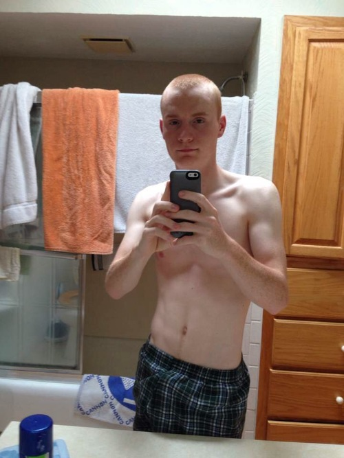 lad in boxers doing a selfie