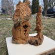Cottonwood Bark carving Celtic Cottage by Marcia Yrineo