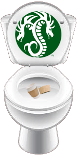 Starcucks logo on toilet