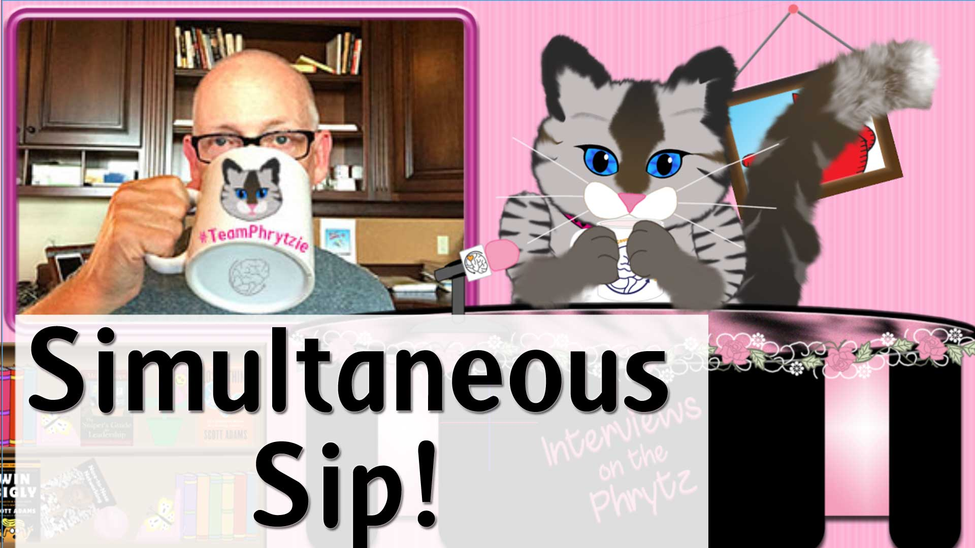 Phrytzie celebrates her favorite cartoonist with a simultaneous sip