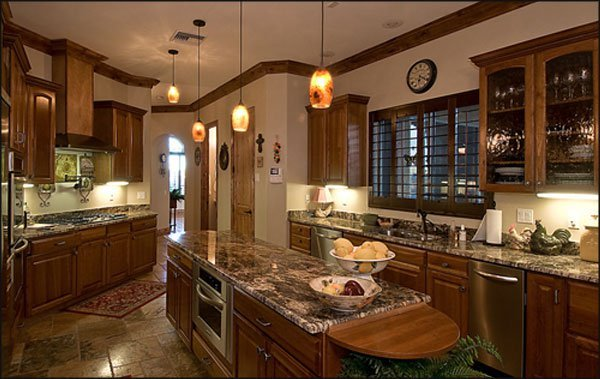 granite kitchens hanging light fixtures for kitchen 47 beautiful countertops pictures consider mixing natural wood with complimentary tones of brown a bullnose edge like this is good choice also