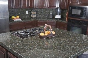 Granite tile countertops. Cheap but you can clearly see the seams.