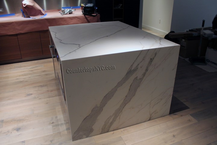 Natural Stone White Marble Kitchen Island NYC