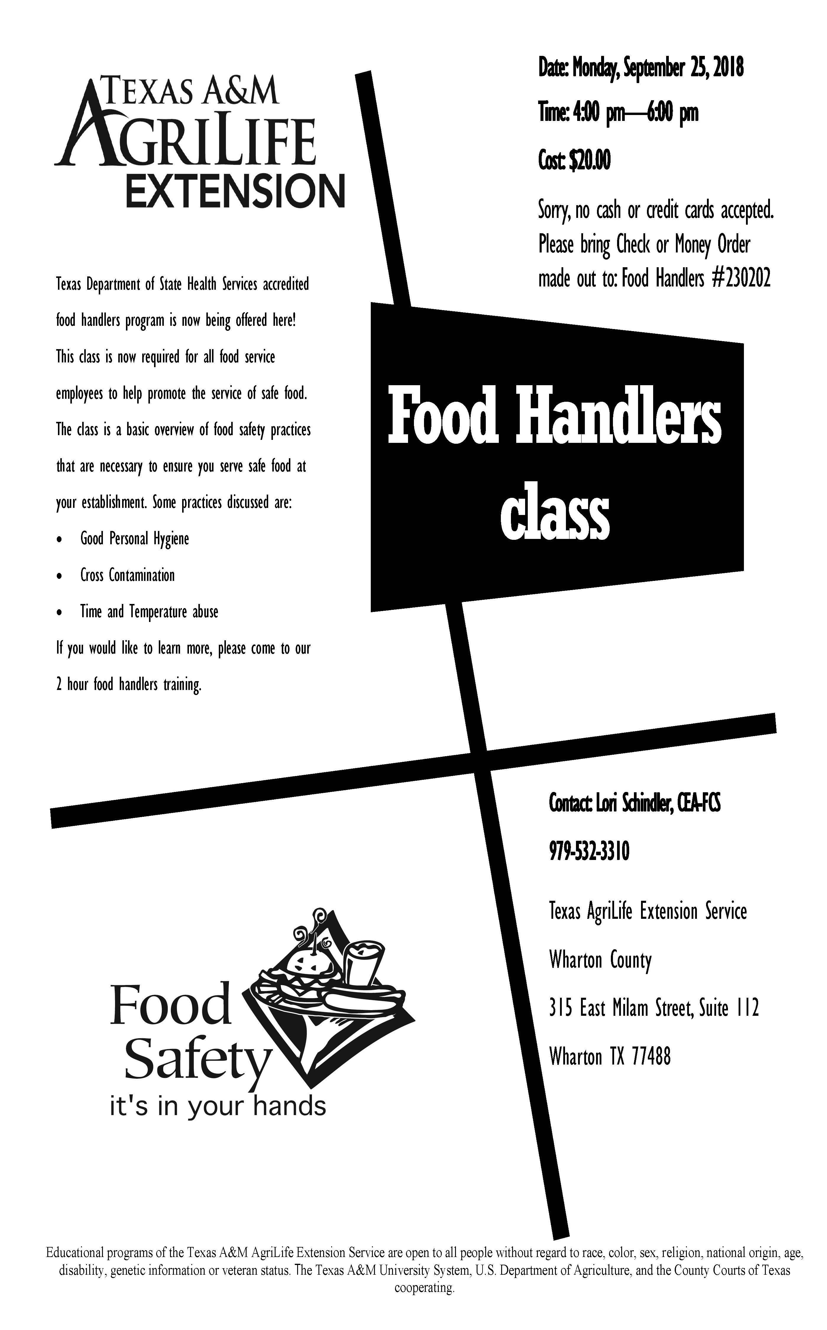 Food Handlers Class September 25