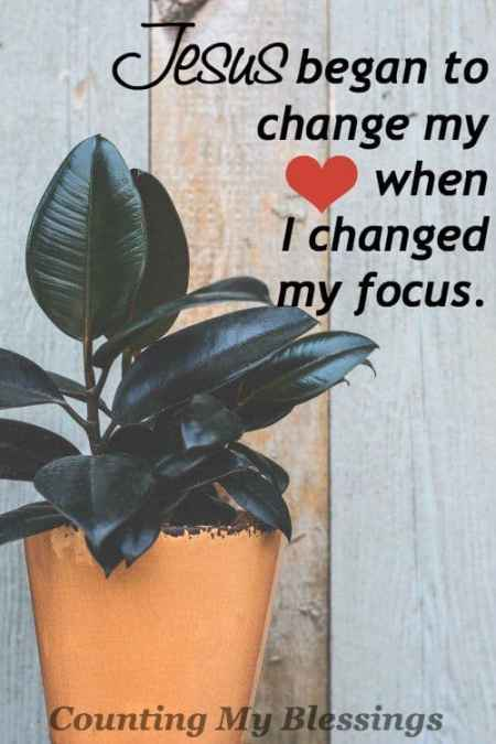 When your heart and mind are focused on Jesus change happens. A heart changed has a changed focus . . . one that lifts and loves.