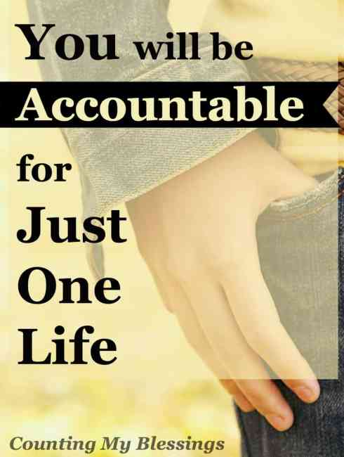 I'm not accountable for you; nor are you accountable for me. Maybe it's time for us to stop pointing fingers and take responsibility for just one life.
