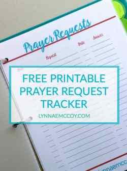 Free Printable Prayer Request Tracker