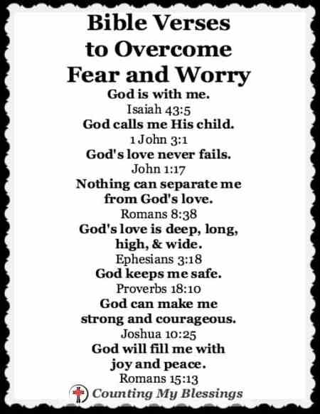 Bible Verses that can help you overcome fear and worry. The Faith Project @ Counting My Blessings