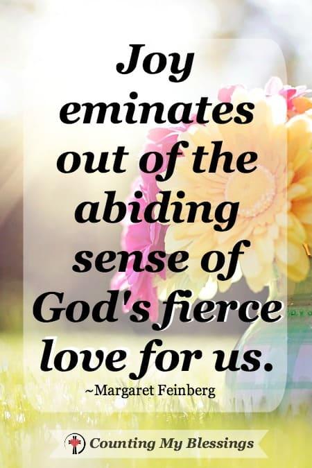 Joy eminates out of the abiding sense of God's fierce love for us. ~Margaret Fienberg