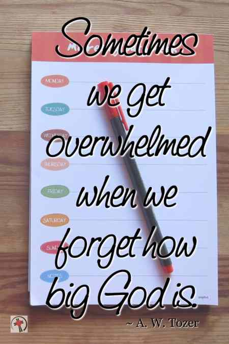 """Sometimes when we get overwhelmed we forget how big God is."" ~ AW Tozer 5 Verses to Pray When You Are Overwhelmed"