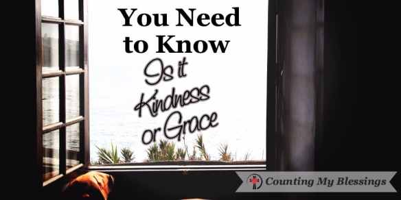 Kindness is a caring gesture. It's compassion. Grace is harder. Grace is sacrificial. Grace is love in put into action.