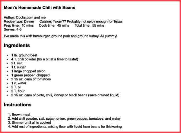 Chili Recipe - Sue Moore Donaldson - Welcome Heart