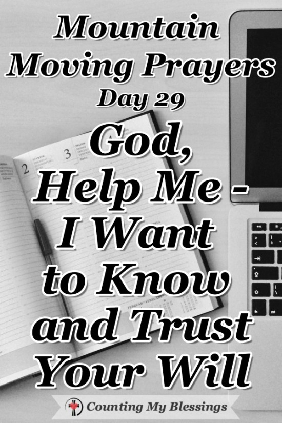 I believe we all want to know and trust God's will but it's not always easy. I'm asking God to help me know and trust His will and follow it. #God'sWill #Faith #Bible #Prayer #BlessingCounter