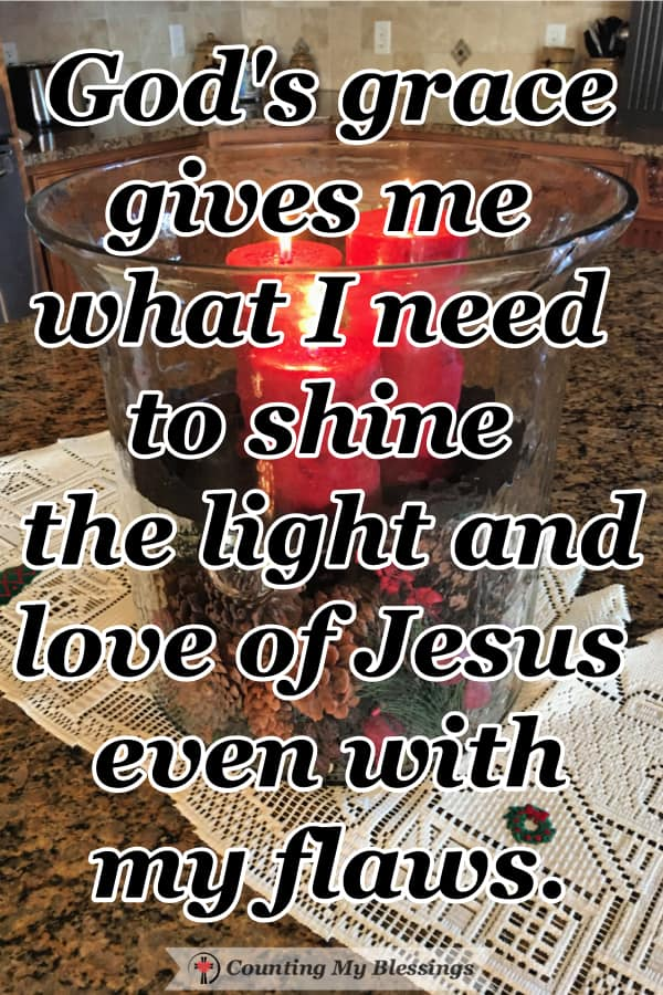 How God taught me a lesson through my chipped candle holder that He is able to shine through our lives even though we have flaws and scars. #God'sStrength #BibleVerses #WWGGG #CountingMyBlessings