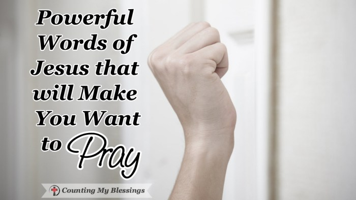 Some of the powerful words of Jesus make me squirm but others make me want to go to God in prayer and trust Him to respond with love, care, and compassion. #Faith #Prayer #AskSeekKnock #WordsofJesus #CountingMyBlessings #WWGGG