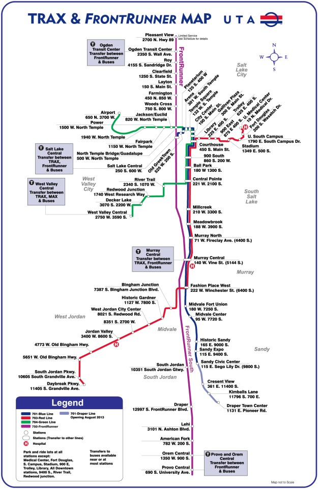 UTA's TRAX and FrontRunner Map as of April 2013.