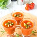 Serving your gazpacho in tiny glasses makes for a tasty, low cal appetizer.