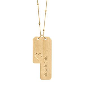 Chelsea Charles Double Love Tags Necklace With Long Bar in Gold