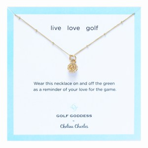 Golf Goddess Gold Golf Ball Charm Necklace by Chelsea Charles
