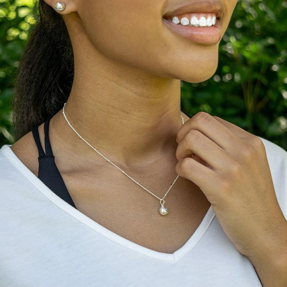 CC Sport Silver Volleyball Jewelry. Pretty sports jewelry by Chelsea Charles