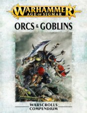 Front image of the Warscroll for Warhammer Armies: Orcs and Goblins