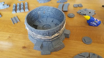 Rubber bands hold Games Workshop's Witchfate Tor together while the glue is drying
