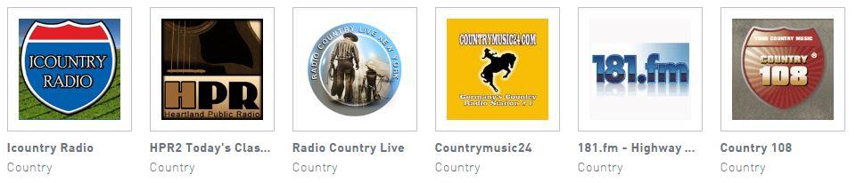 Choix de Radios Country