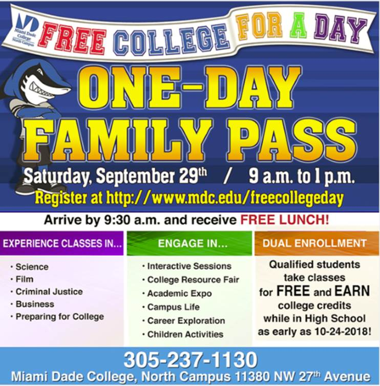 Free college for a day flyer
