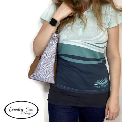 Lomexa Handbag Being Worn - Sewing Pattern by Country Cow Designs