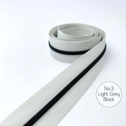 No.3 Light Grey Black Zipper Tape