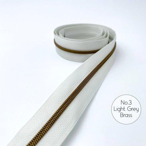 No.3 Light Grey Brass Zipper Tape