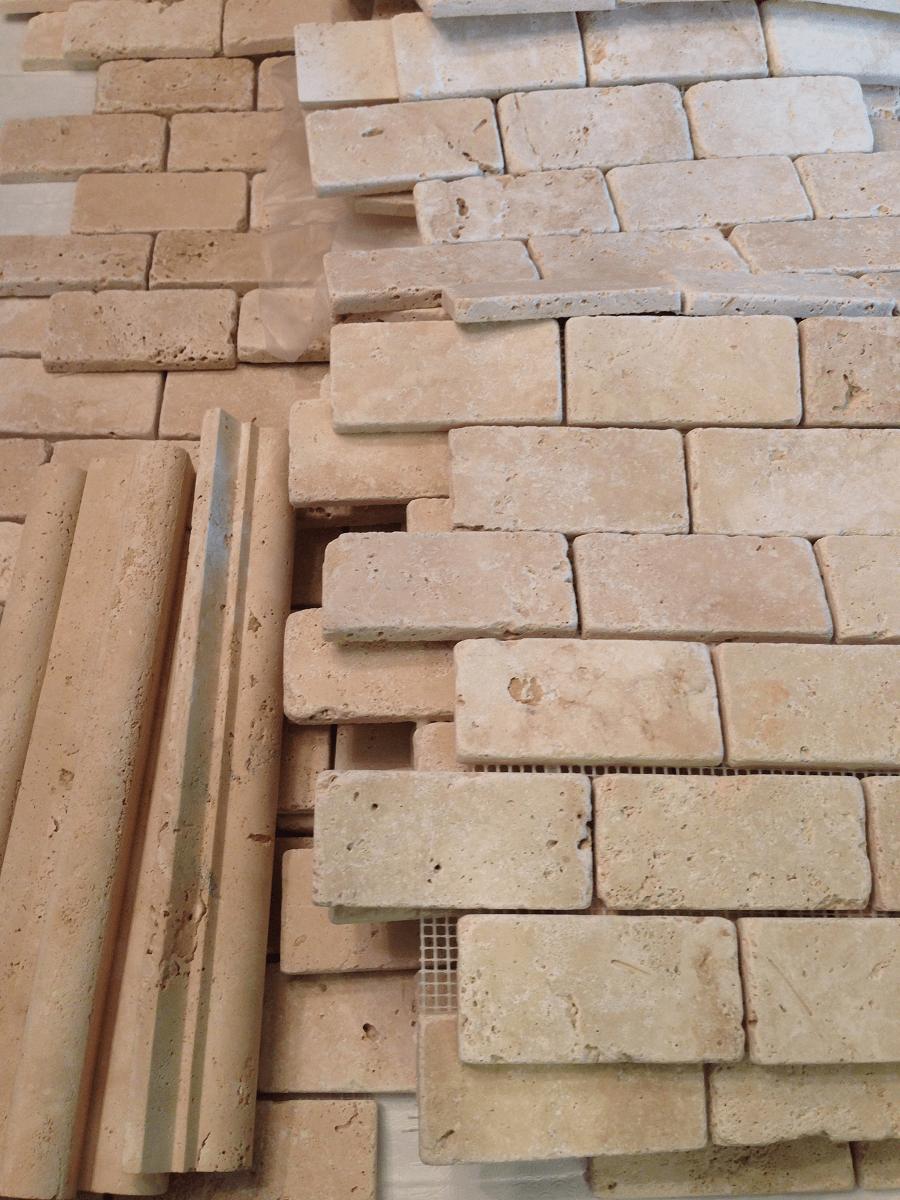 installing travertine tiles for backsplash  Country