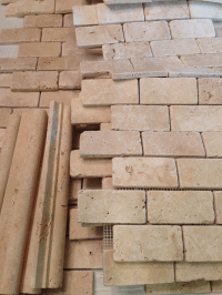 installing travertine tiles for backsplash  Country