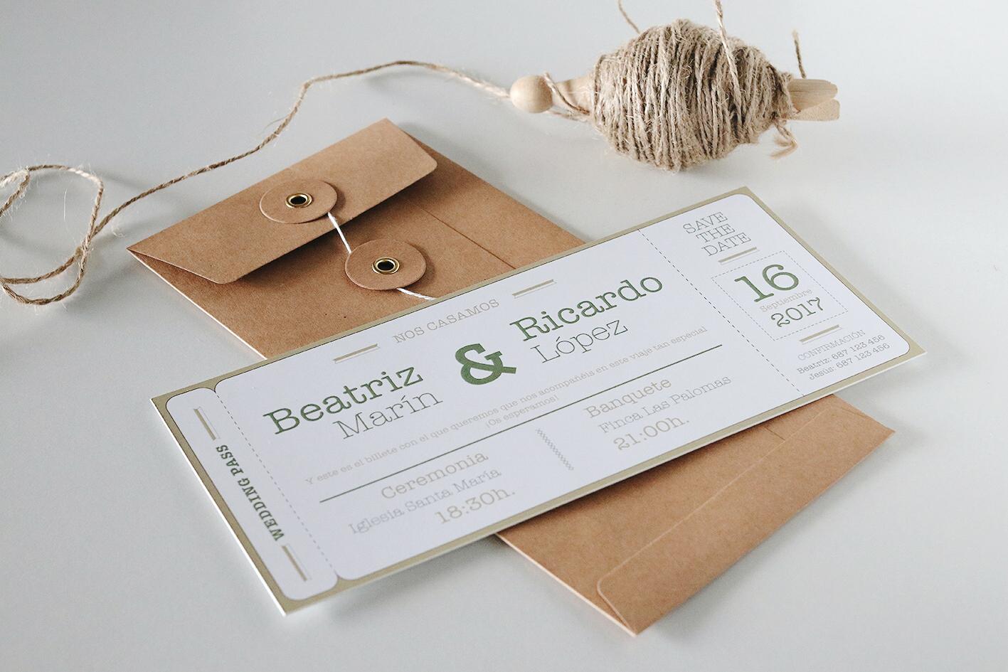 Invitación de boda viajes