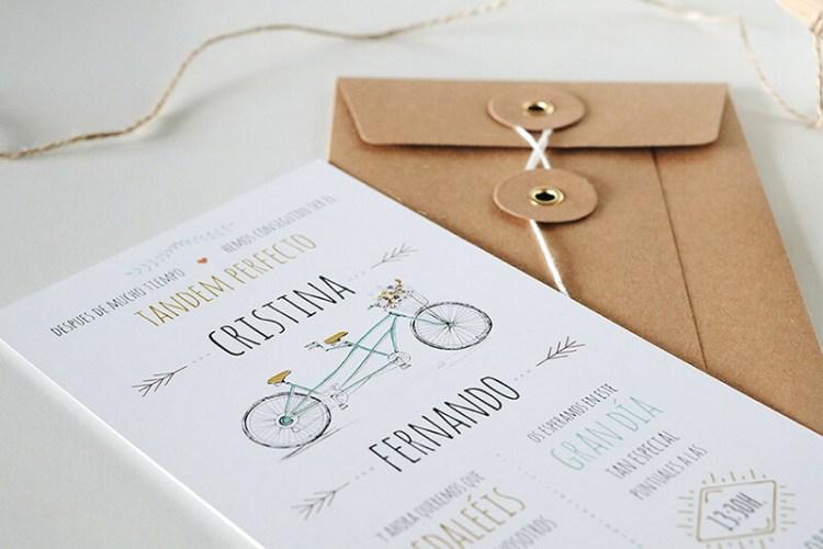 Invitación de boda tandem