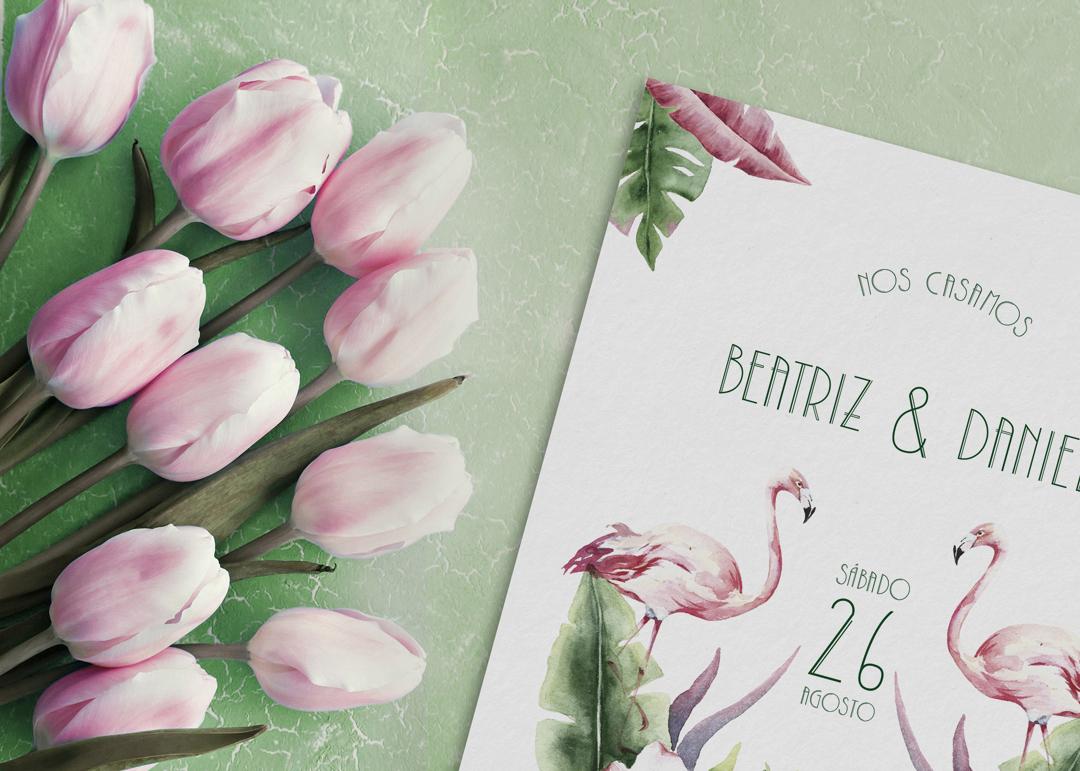 Invitación de boda flamencos