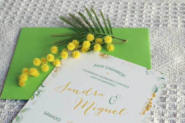 Invitación de boda primavera yellow